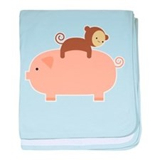 Baby Monkey Riding Backwards on a Pig baby blanket