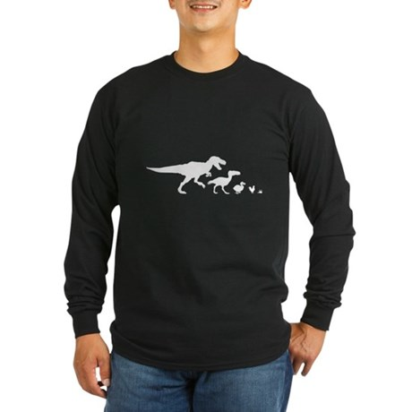 Dino Chicken White Long Sleeve Dark T-Shirt