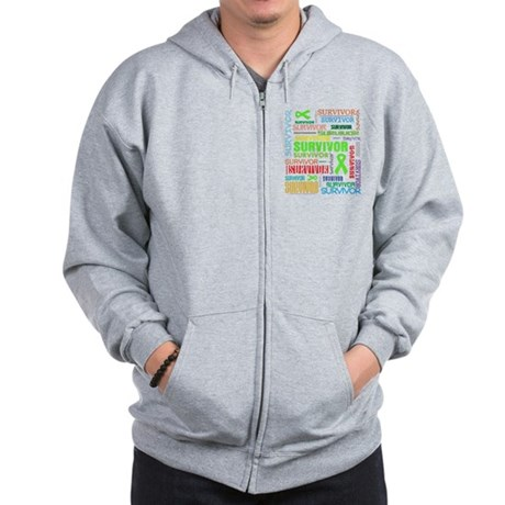 Survivor Colorful Lymphoma Zip Hoodie