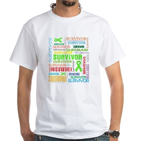 Survivor Colorful Lymphoma White T-Shirt