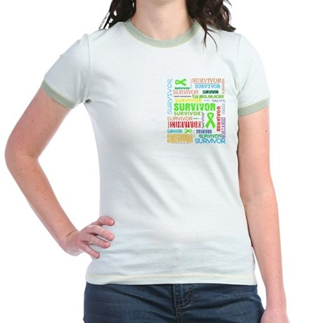 Survivor Colorful Lymphoma Jr. Ringer T-Shirt
