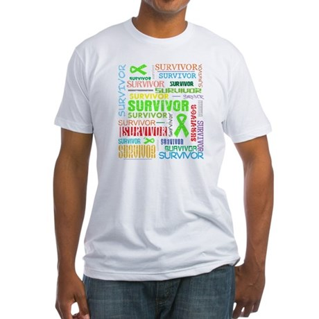 Survivor Colorful Lymphoma Fitted T-Shirt