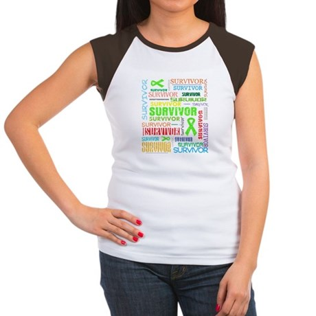 Survivor Colorful Lymphoma Women's Cap Sleeve T-Sh