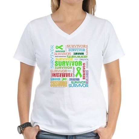 Survivor Colorful Lymphoma Women's V-Neck T-Shirt