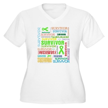 Survivor Colorful Lymphoma Women's Plus Size V-Nec