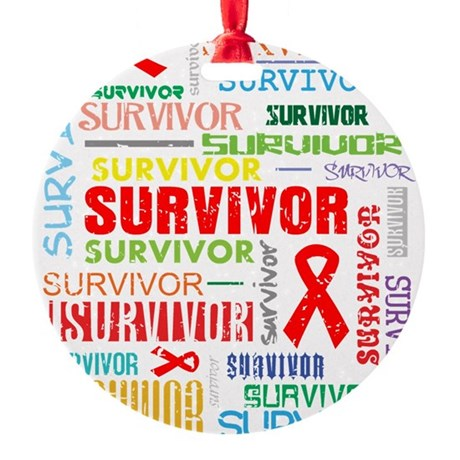 Survivor Colorful Blood Cancer Round Ornament