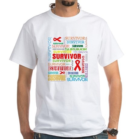 Survivor Colorful Blood Cancer White T-Shirt