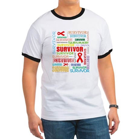 Survivor Colorful Blood Cancer Ringer T