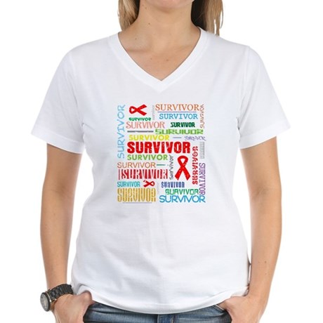 Survivor Colorful Blood Cancer Women's V-Neck T-Sh