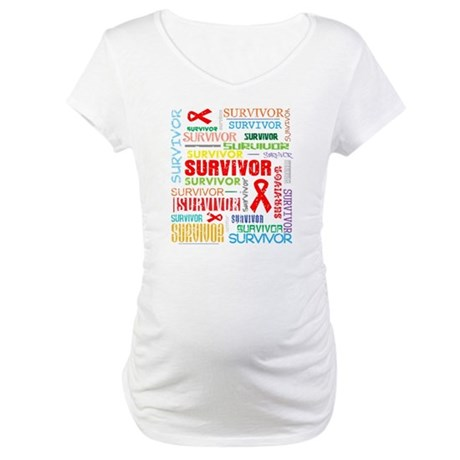 Survivor Colorful Blood Cancer Maternity T-Shirt