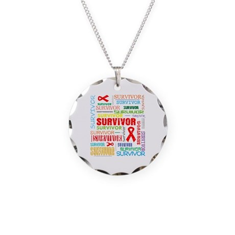 Survivor Colorful Blood Cancer Necklace Circle Cha