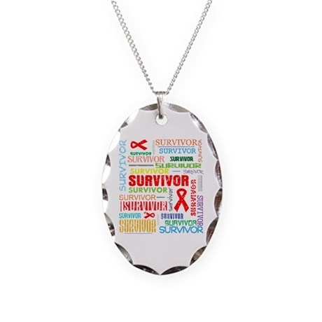 Survivor Colorful Blood Cancer Necklace Oval Charm