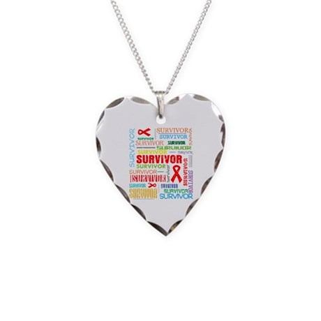 Survivor Colorful Blood Cancer Necklace Heart Char