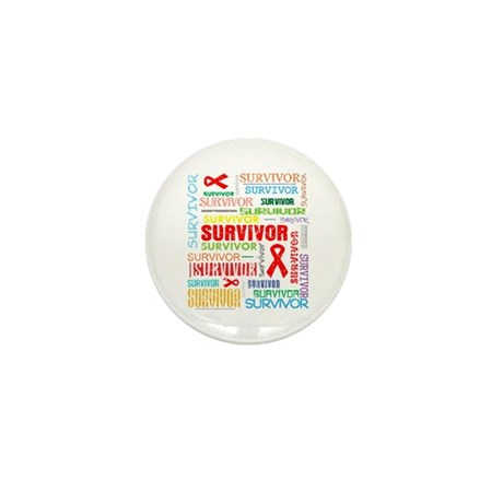 Survivor Colorful Blood Cancer Mini Button (100 pa