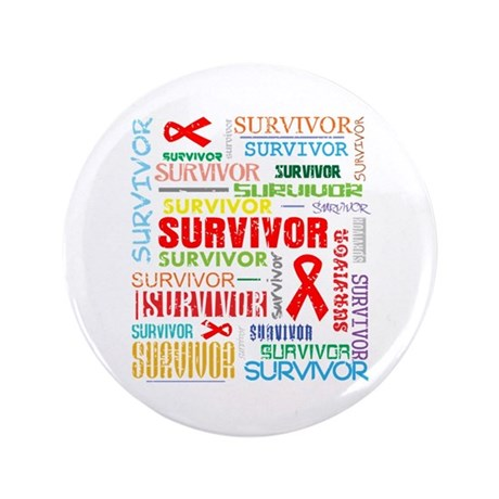 "Survivor Colorful Blood Cancer 3.5"" Button (100 pa"