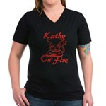 Kathy On Fire Women's V-Neck Dark T-Shirt