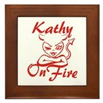 Kathy On Fire Framed Tile