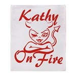 Kathy On Fire Throw Blanket