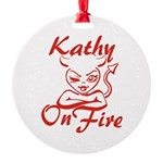 Kathy On Fire Round Ornament