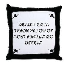 Deadly Ninja Fighting Throw Pillow