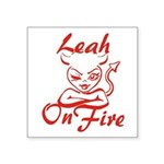 Leah On Fire Square Sticker 3
