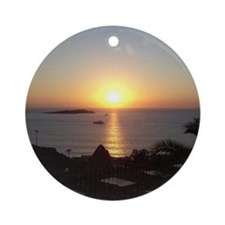 Mykonos Sunset 2 Ornament (Round)