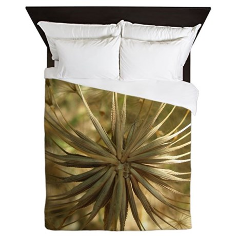 Warm Gold Globe Queen Duvet