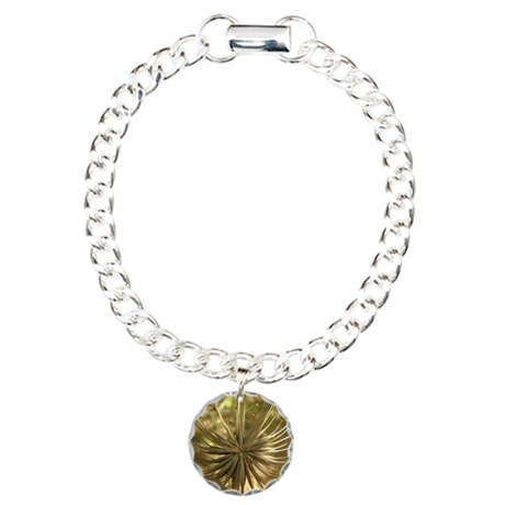 Warm Gold Globe Charm Bracelet, One Charm