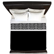 Grey and Black Damask King Duvet