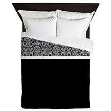 Grey and Black Damask Queen Duvet