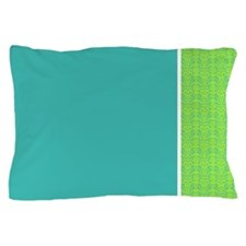 Teal and Green Damask Pillow Case
