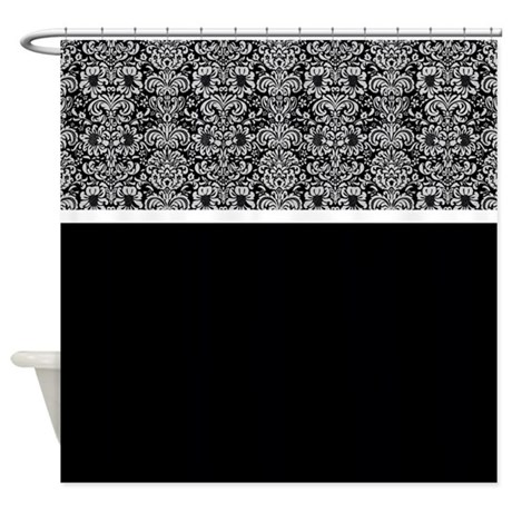 Black And White Damask Shower Curtain black grey and white shower curtain