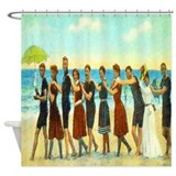 Vintage Beach Dance Shower Curtain