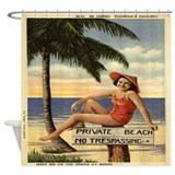 Vintage Private Beach Postcard Shower Curtain