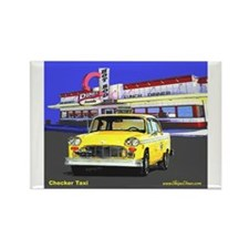 Checker Taxi Rectangle Magnet