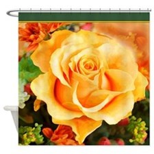 Watercolor Yellow Rose with Orange Accents Shower