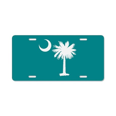 Teal Palmetto Moon License Plate