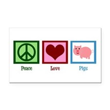 Peace Love Pigs Rectangle Car Magnet