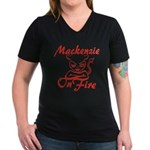 Mackenzie On Fire Women's V-Neck Dark T-Shirt