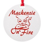 Mackenzie On Fire Round Ornament