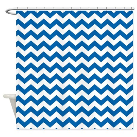 Chevron Pattern Blue Shower Curtain By Marshenterprises