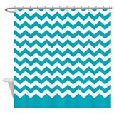 chevron pattern teal Shower Curtain