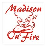 Madison On Fire Square Car Magnet 3