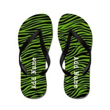 zebra stripes green Flip Flops