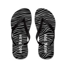 zebra stripes gray Flip Flops