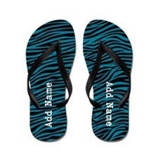 zebra stripes teal Flip Flops