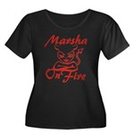 Marsha On Fire Women's Plus Size Scoop Neck Dark T