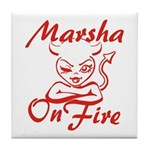 Marsha On Fire Tile Coaster