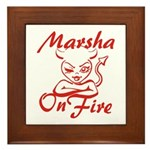 Marsha On Fire Framed Tile