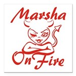 Marsha On Fire Square Car Magnet 3